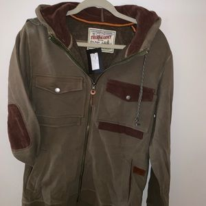 Men's jacket with multi pockets olive green